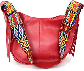 Crossbody Leather Bag for women, red color, Shoulder purse saddle bag cross chest bag with wide chaquira strap