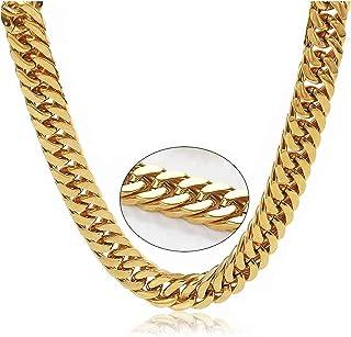 سلسلة ربط كوبان 24 ك للرجال مطلي بالذهب 20 مم، مشبك صلب ثقيل حقيقي مجوهرات ذهبية أنيقة