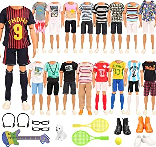 Miunana 22 pcs Ken Doll Clothes and Accessories 2 Random Outfit + 2 Glasses + 2 Headset Wheat + 1 Dog + 3 Shoes + 1 Guitar...