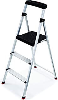 Rubbermaid RMA-3 3 Light Weight Aluminum Step Stool with Project Top, Silver (Renewed)