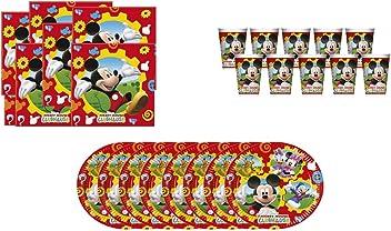 Compuesto por 1 Mantel Fiesta de pl/ástico 120x180 cm 20 servilletas de Papel ALMACENESADAN 1075 12 Vasos y 12 Platos Pack Fiesta o cumplea/ños Disney Mickey Mouse