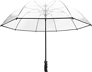 SMATI Stick Extra Large Clear Umbrella - Border - Wedding - Resistant to Wind