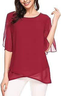 Women's Chiffon Blouse Loose Layered Flowy Casual Shirts Ruffle Half Sleeve Top