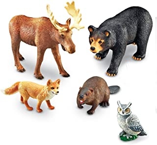 Learning Resources Jumbo Forest Animals I Bear, Moose, Beaver, Owl, and Fox, 5 Pieces, Ages 3+