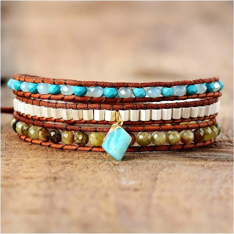JIAH Bracelets Premium Women Natural safety Ranking TOP7 Stones Rhine Wrap