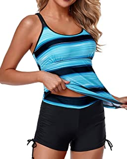 Womens Tankini Swimsuits Athletic Two Piece Tummy Control...