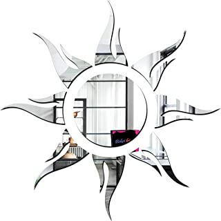 Bikri Kendra® - Sun Silver Model 3-3D Acrylic Decorative Mirror Wall Stickers -