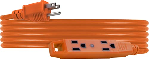 UltraPro, Orange, 15 ft Extension Cord, 3-Outlet Power Strip, 16 Gauge, SJTW, Heavy Duty, For Use in Home, Garage or ...