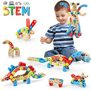 LUKAT STEM Building Toys for Boys & Girls, Educational Construction Wooden Blocks Set for Ages 4,5,6,7 Years Old and Up, Best Gift Toy