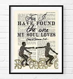 Bible Page, For I Have Found the One My Soul Loves, Song of Solomon 3:4, Christian Art Print, Unframed, Wall Decor Poster, Wedding gift, 8x10 Inches
