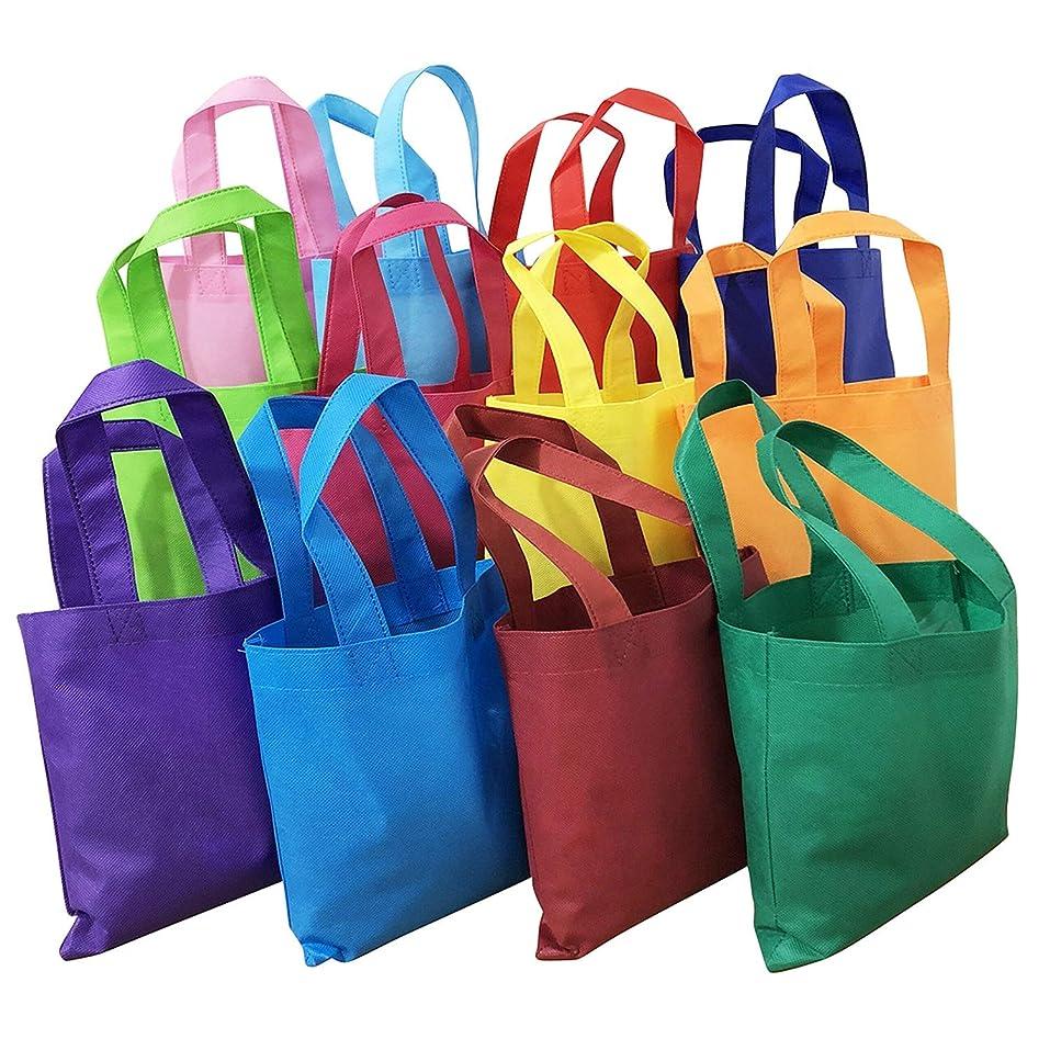 ラテンマチュピチュ永続MANSHU パーティーギフトバッグ ハンドル付き 不織布トートバッグ 環境に優しいトートバッグ 8×8インチ 12色 24枚