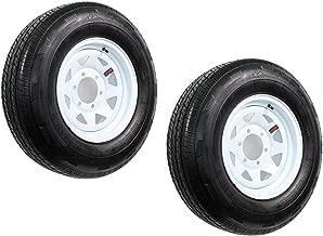2-Pack Trailer Tire On Rim ST225/75R15 LRD 6 Hole Steel White Spoke