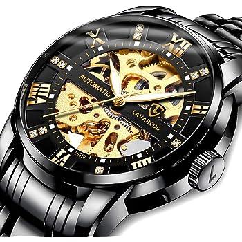 Men's Watch Mechanical Stainless Steel Skeleton Waterproof Automatic Self-Winding Rome Number Diamond Dial Wrist Watch