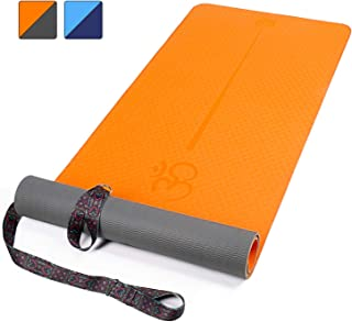 """XGEAR Yoga Mat with Carrying Strap - Non-Slip Textured Surface- Eco Friendly Exercise Workout Mat- Exercise & Fitness Mat with Alignment Line for Yoga, Pilates and Floor Exercises (72""""X 24"""" X1/4"""")"""