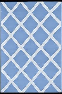 Green Decore Diamond Lightweight Indoor/Outdoor Reversible Plastic Rug, Powder Blue/White, 3 ft x 5 ft (90 cm x 150 cm)