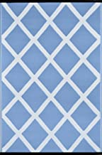Green Decore Diamond Lightweight Indoor/Outdoor Reversible Plastic Rug, Powder Blue/White, 3 ft x 5 ft (90 cm x 150 cm)