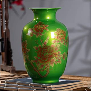 Vase New Chinese Style Vase Jingdezhen Classical Porcelain Crystal Glaze Flower Vase Home Decor Handmade Shining Famille R...
