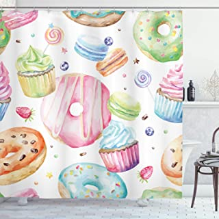 Ambesonne Sweet Decor Shower Curtain by, Delicious Macaron Cupcakes Donuts Muffins Sugar Tasty Yummy Watercolor Design, Fabric Bathroom Decor Set with Hooks, 75 Inches Long, Green Pink