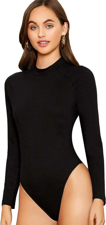 Floerns Women's Crew Neck Bodycon Leotard Top Long Sleeve Bodysuit Pure Black XS