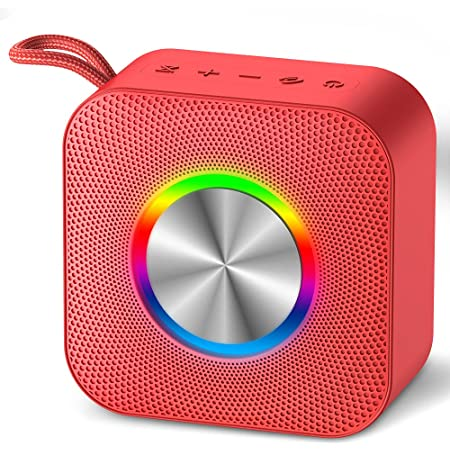 Waterproof Portable Bluetooth Speaker with Party Lights Supports up to 32G TF Cards- Red