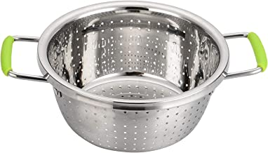 Stainless Steel Perforated Metal Colander Metal Food Strainer with Silicone Handles Sifters for Kitchen Food Pasta Noodles Spaghetti Cleaning Food C072-Mer-RG