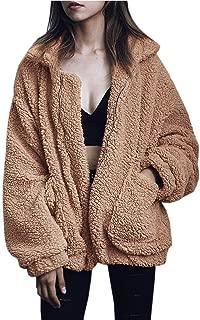 Women Coat Casual Lapel Fleece Fuzzy Faux Shearling Zipper Outwear Jackets