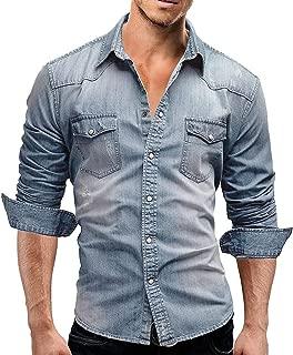 SEAWEED Men's Cowboy Snap Button Down Long Sleeve Denim Shirts