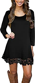 Afibi Womens Long Sleeve A Line Lace Stitching Trim Casual Dress