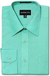 G-Style USA Men's Regular Fit Long Sleeve Solid Color Dress Shirts - Aqua - X-Large - 32-33