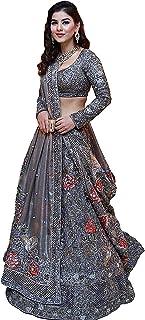 فستان Lehenga Choli مطرز من الحرير الفضي للسيدات