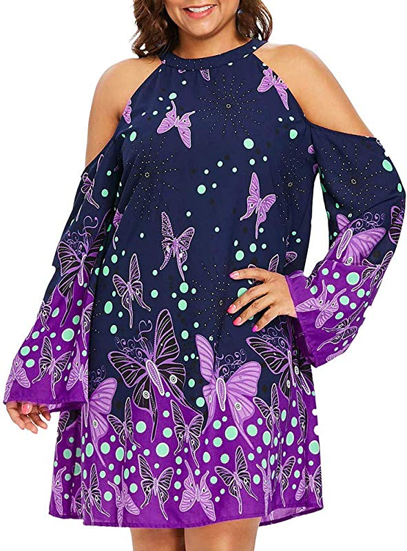 African Dresses For Women Plus Size Cold Shoulder Long Sleeve Butterflies Printed Mini Dress Teresamoon