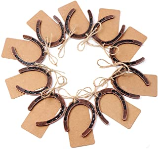 PartyTalk 30pcs Good Lucky Horseshoe Wedding Favors for Guests, Vintage Craft Horseshoe Favors with Kraft Gift Tags for Ru...