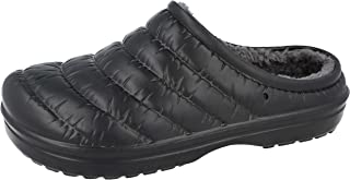 Unisex Ladies Mens Quilted Faux Fur Lined Garden Hospital Kitchen Slip On Slipper Clogs Shoes Size 3-11