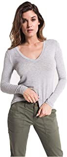 Z SUPPLY Womens The Premium Sleek Jersey Fitted Long Sleeve V Neck Tee