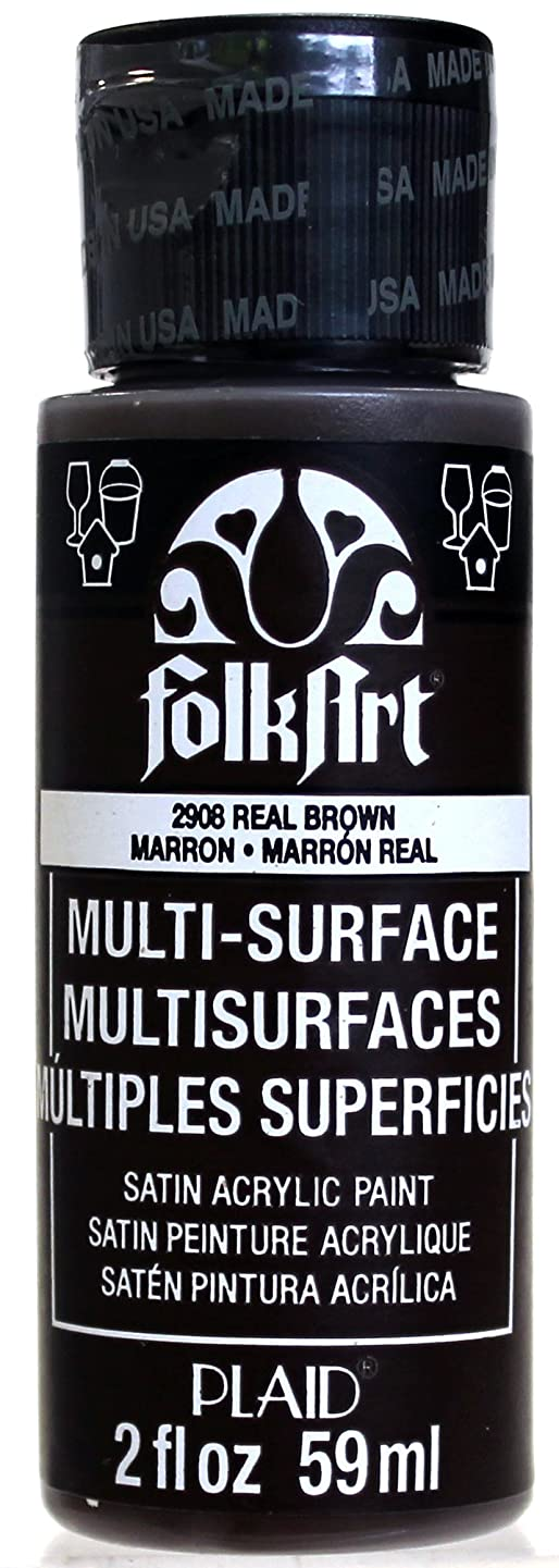 FolkArt Multi-Surface Paint in Assorted Colors (2 oz), 2908, Real Brown
