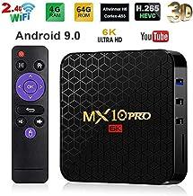 Android 9.0 TV Box 4GB RAM 64GB ROM,MX10 PRO Android TV Box H6 Quad-core ARM Cortex-A53 CPU with 6K Image Decoding 2.4G WiFi 100M LAN USB3.0 H.265 VP9 Smart TV Box