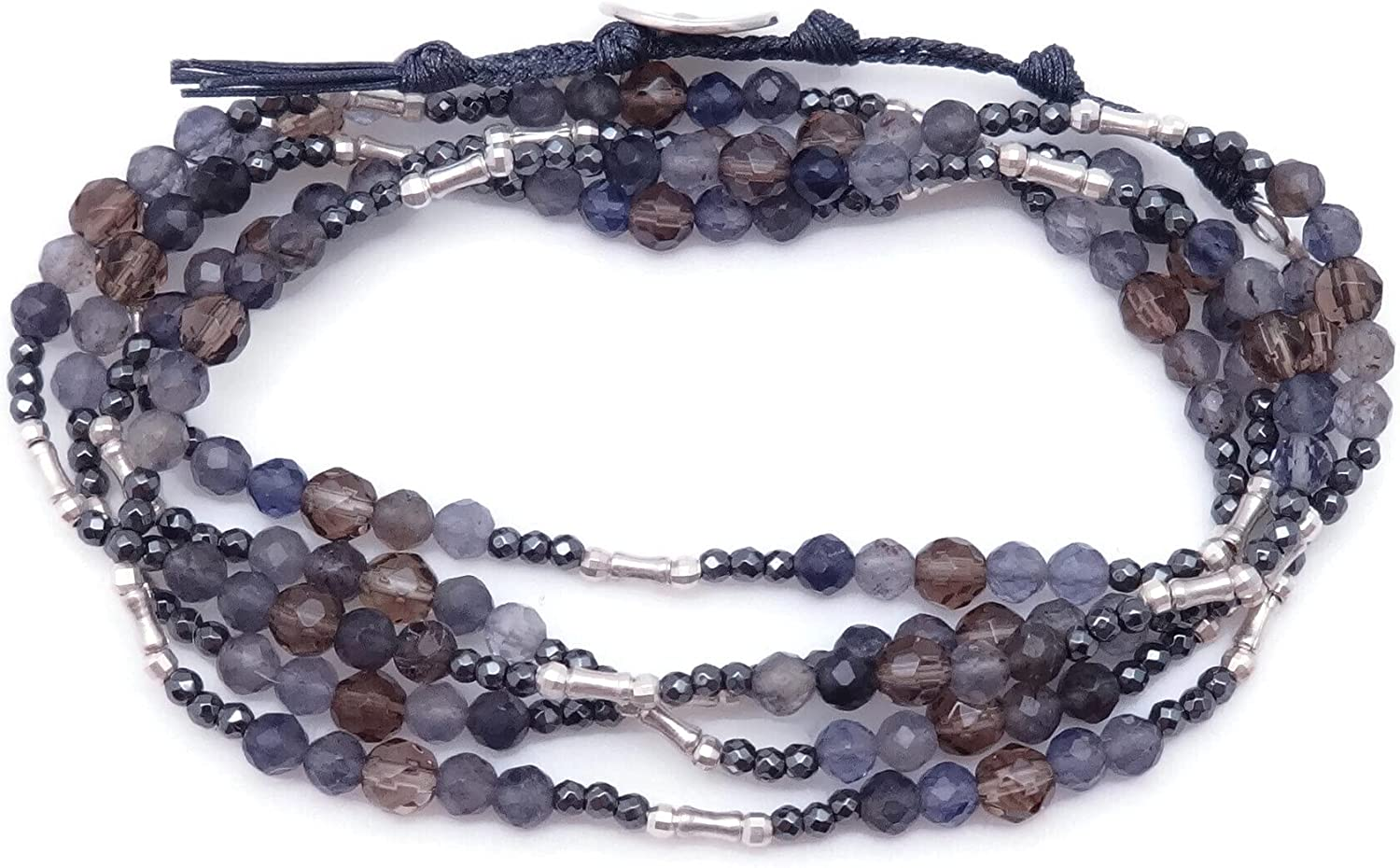 Chan Luu Blue and Brown Mineral Bombing free shipping Naked Denver Mall Stone Mix Bead Silvertone