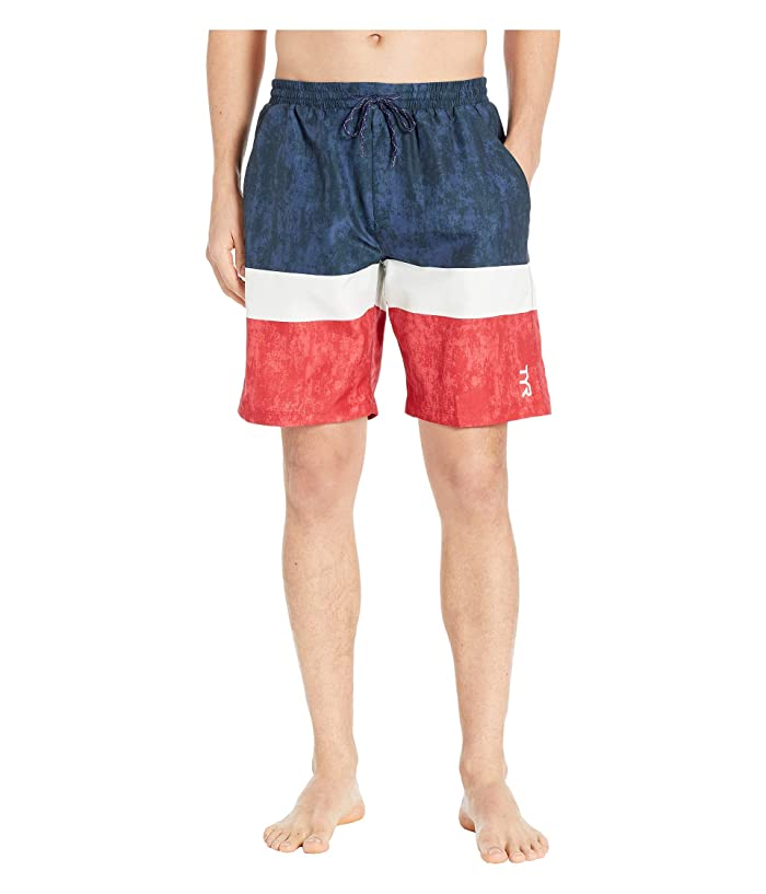f1c7e3fa368aa TYR Shoreline Swell Swim Shorts (Red/White/Blue) Men's Swimwear