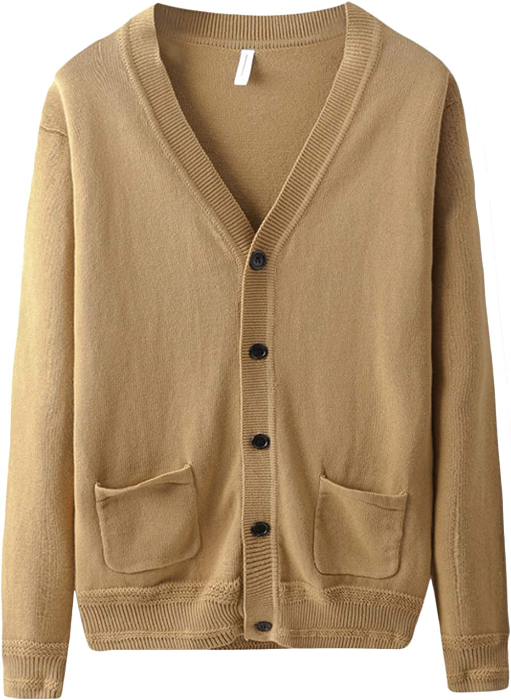 Yeokou Soldering Mens Casual V-Neck Button Spring new work Knitted Cardigan Up Solid Sweat