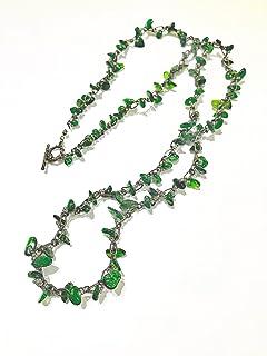 【ネックレス】【完成品】ロングネックレス 天然石 グリーン 緑 クロムダイオプサイト チェーン