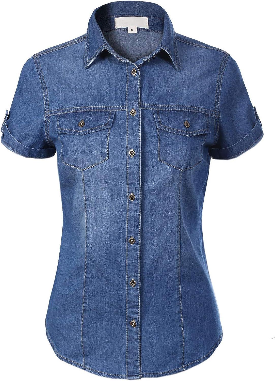 Design by Olivia Women's Cap Sleeve Button Down Denim Chambray Shirt