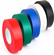 Sunlite 40937-SU Red Green Blue Black and White Electrical Tape Professional Grade Colored Rainbow, 5 Pack, Assorted Mix, 5 Piece