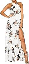 ZESICA Women's Halter Neck Floral Print Backless Split Beach Party Maxi Dress