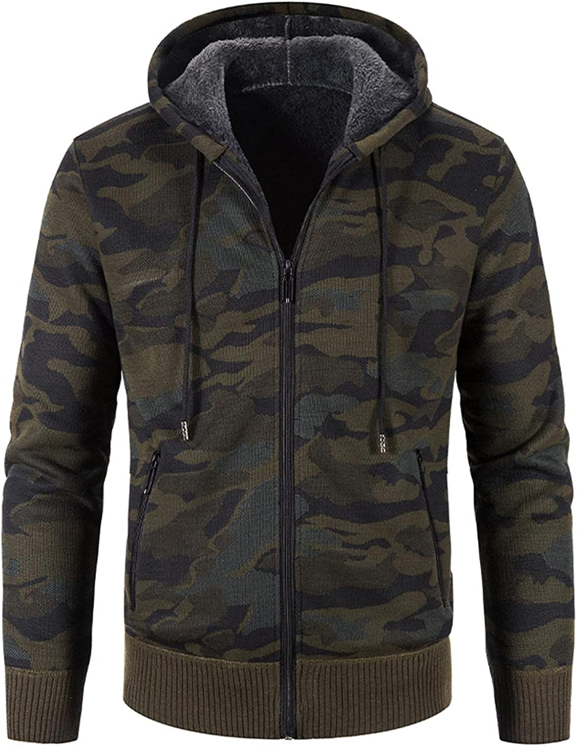 Aayomet Hoodies Cardigan for Men Winter Warm Camouflage Zip Long Sleeve Casual Hooded Pullover Tops Blouses Coat with Pocket