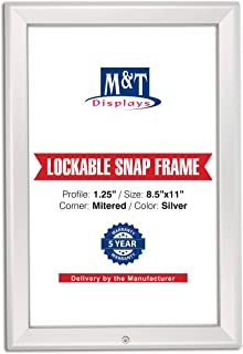M&T Displays Lockable Snap Frame Front Loading Picture Photo Poster Size 1.25