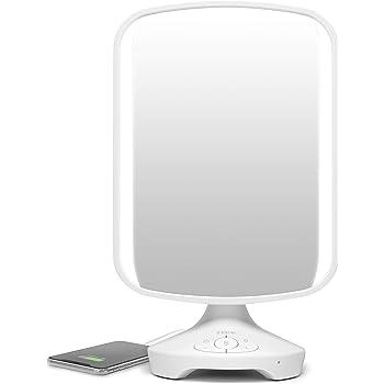 "iHome 7"" x 9"" Reflect ll iCVBT3 Adjustable Vanity Mirror, Makeup Mirror with Bluetooth Audio, Hands-Free Speakerphone, LED Lighting, Siri & Google Support USB Charging, Flat Panel LED Lighting (White)"