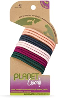 Goody Planet GoodyOuchlessElastic Thick Hair Tie - 30 Count, Mixed- Medium Hair to Thick Hair - Bamboo Elastic and Eco-F...