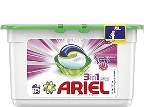 منظف الغسيل ارييل في أكياس 3 في 1، كبسولات الغسيل السائلة، لمسة من الانتعاش مع داوني، المجموع 15