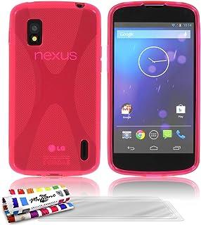 """MUZZANO 灵活优质超薄"""" x"""" 背壳, 适用于 LG Nexus 4 / E960 粉红色3D屏保"""