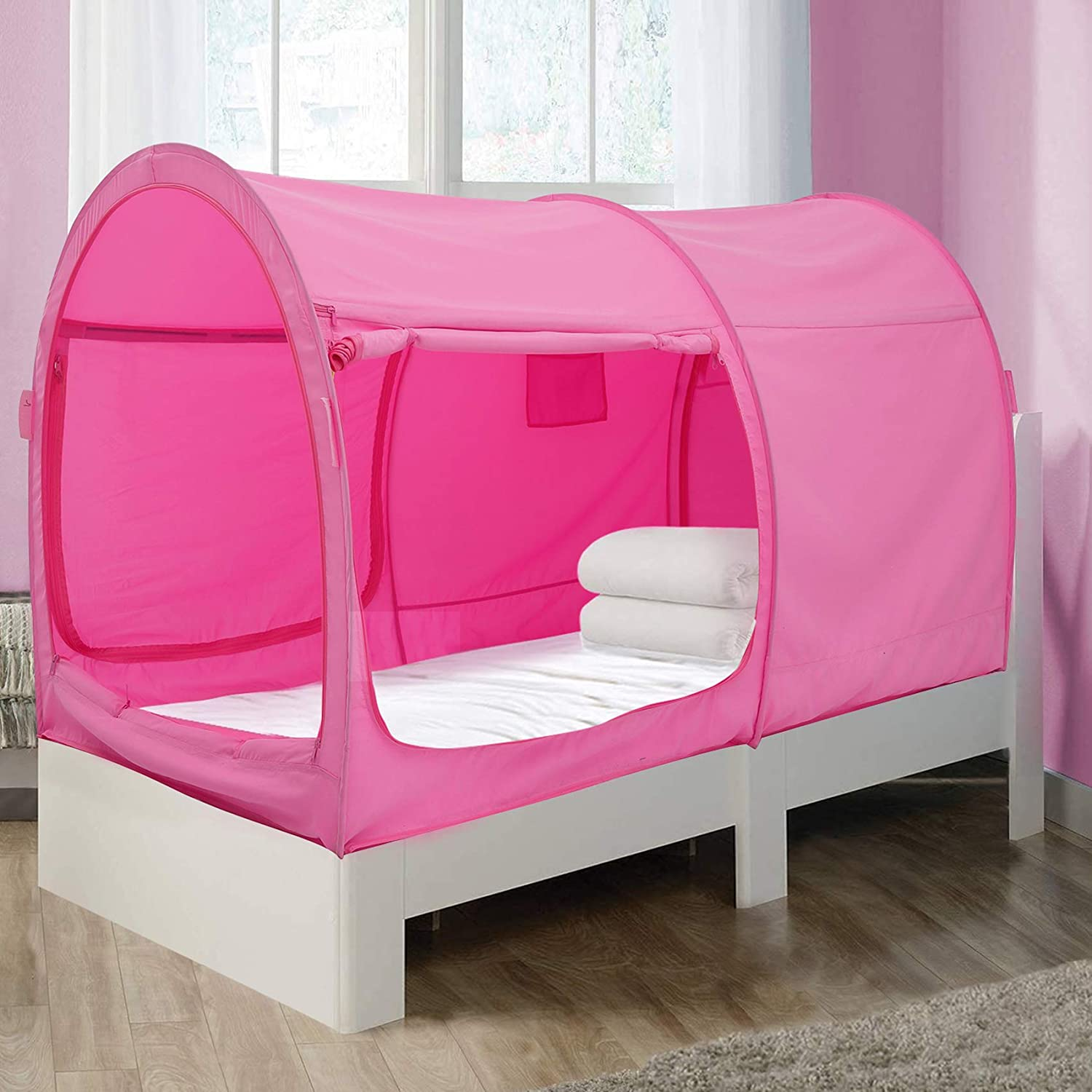 Alvantor Bed Canopy Bed Tents Dream Tents Privacy Space Single Size Sleeping Tents Indoor Pop Up Portable Frame Curtains Breathable Pink Cottage Mattress Not Included Reducing Light Amazon Co Uk Sports Outdoors